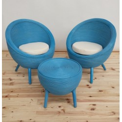 SILLON EGG OVAL BLUE C/MESA SET 3