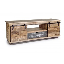 MUEBLE TV MADERA DE MANGO BASE DE METAL