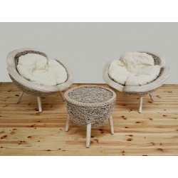 SILLON FLOWER CHAIR WHITE C/MESA SET 3 CON COJINES IMPST